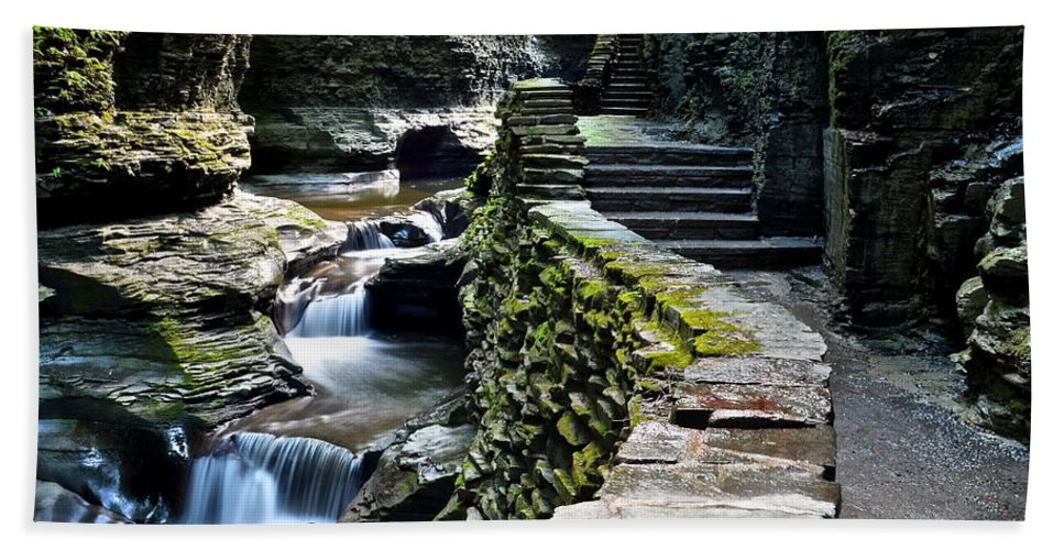 Exit Beach Towel featuring the photograph Watkins Glen Exiting The Trail by Frozen in Time Fine Art Photography