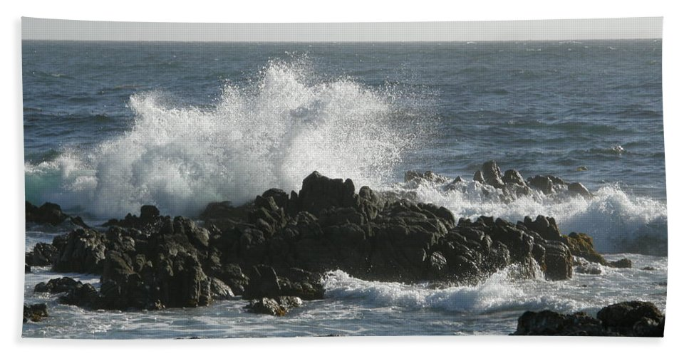 Waves Crashing Beach Towel featuring the photograph Wave Action by Bev Conover