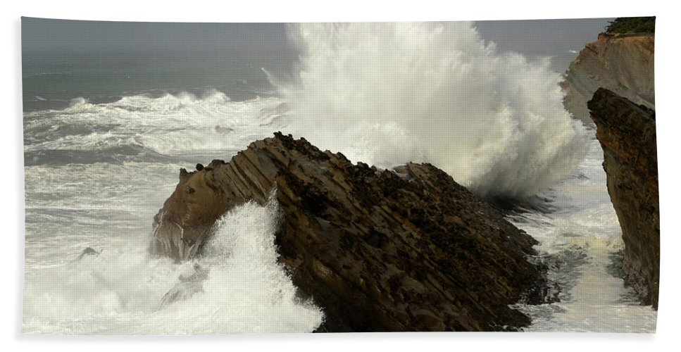 Oregon Beach Towel featuring the photograph Wave At Shore Acres by Bob Christopher