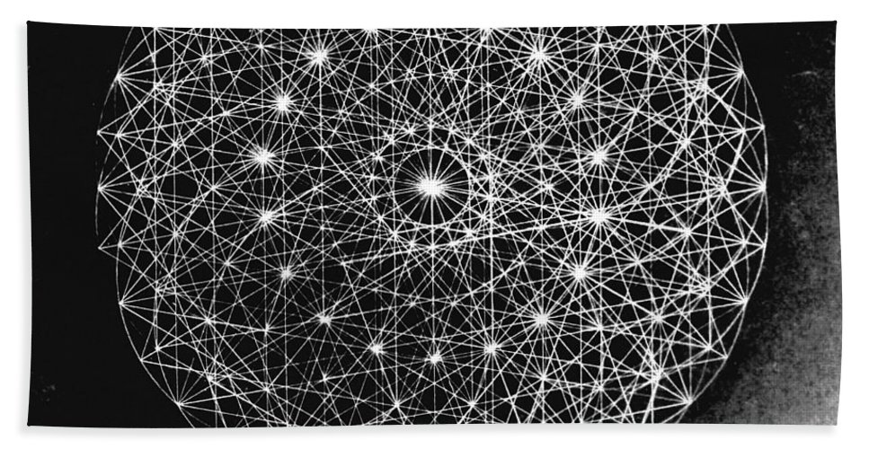 Jason Beach Towel featuring the drawing Wave Particle Duality Black White by Jason Padgett