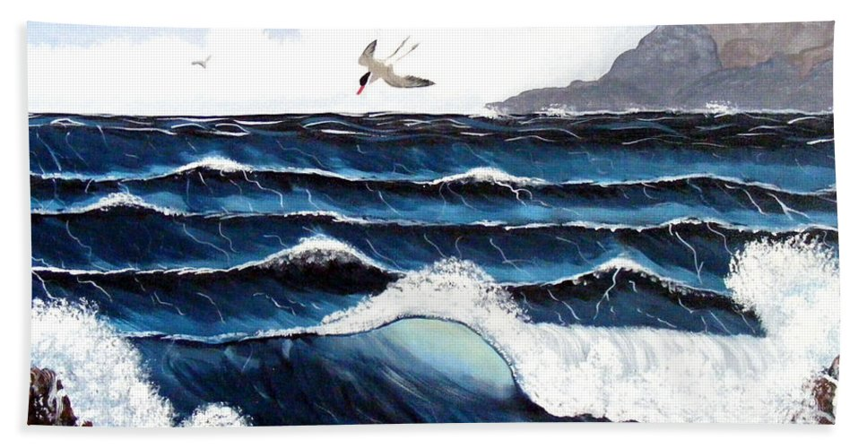 Wind Beach Towel featuring the painting Waves And Tern by Barbara Griffin
