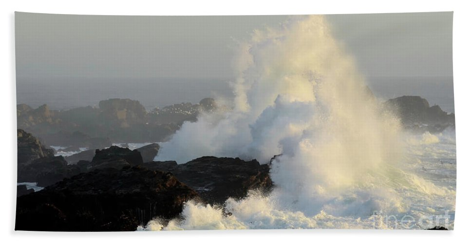 California Beach Towel featuring the photograph Waves At Salt Point by Bob Christopher
