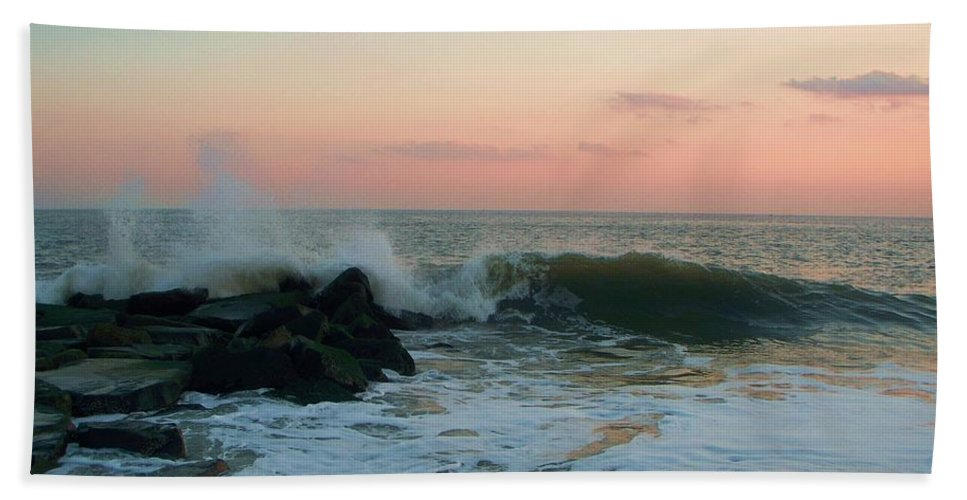 Waves Beach Towel featuring the photograph Waves At The Point West Cape May Nj by Eric Schiabor