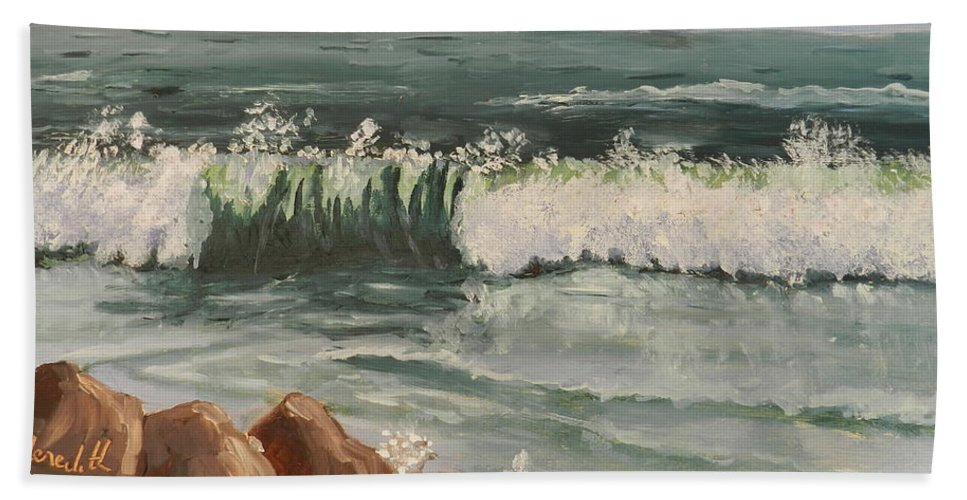 Impressionism Beach Towel featuring the painting Waves Crashing by Pamela Meredith