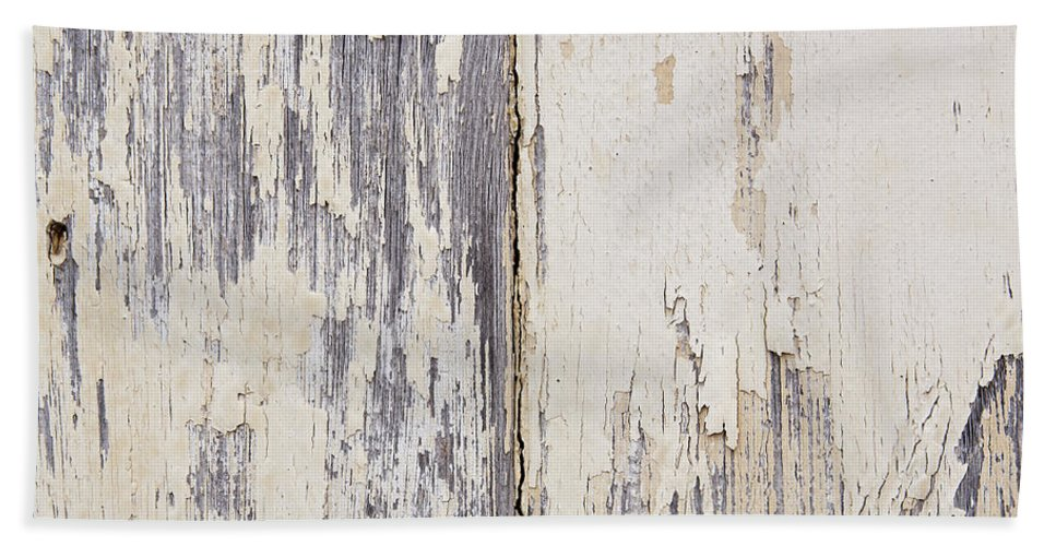 Abstract Beach Towel featuring the photograph Weathered Paint On Wood by Tim Hester