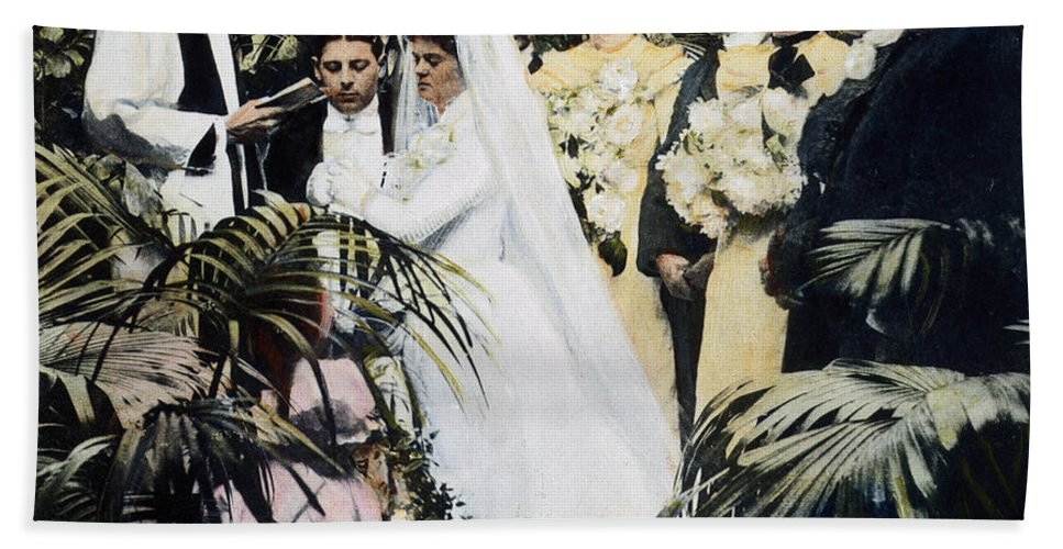 1900 Beach Towel featuring the photograph Wedding Party, 1900 by Granger