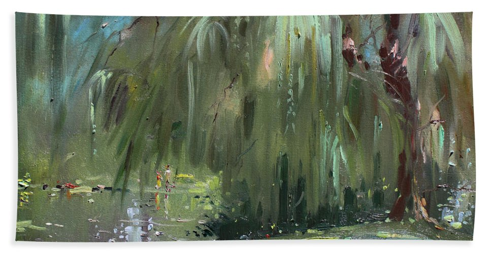 Trees By The Lake Beach Towel featuring the painting Weeping Willow Tree by Ylli Haruni