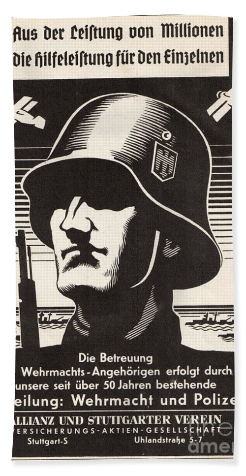 Wehrmacht Beach Towel featuring the drawing Wehrmacht by Oleg Konin