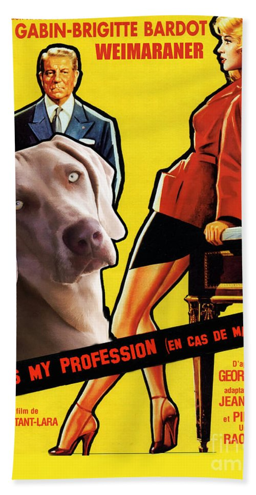 Weimaraner Beach Towel featuring the painting Weimaraner Art Canvas Print - Love Is My Profession Movie Poster by Sandra Sij