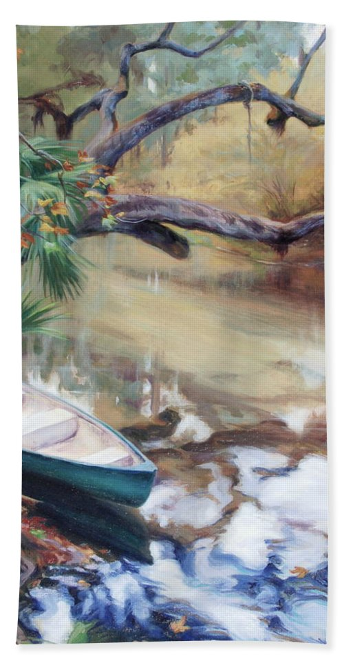 Wekiva Beach Towel featuring the painting Wekiva Autumn by Laura Bates