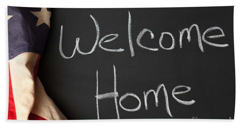 American Beach Towel featuring the photograph Welcome Home Sign On Chalkbaord by Leslie Banks