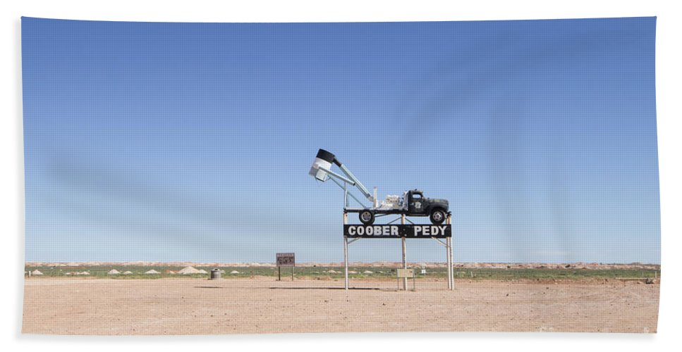 Blower Beach Towel featuring the photograph Welcome To Coober Pedy by Linda Lees