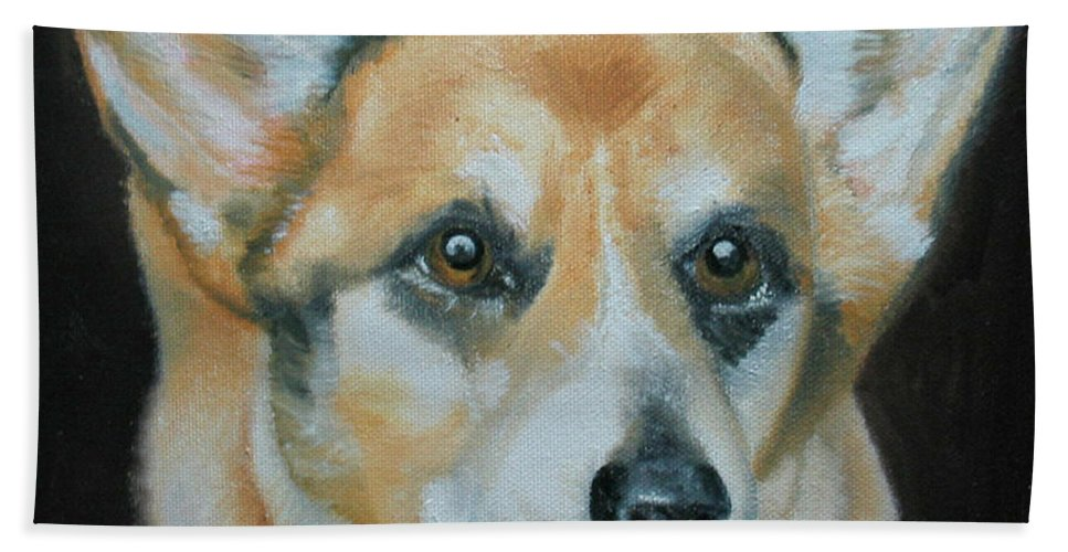 Corgi Beach Towel featuring the painting Welsh Corgi by Thomas J Herring