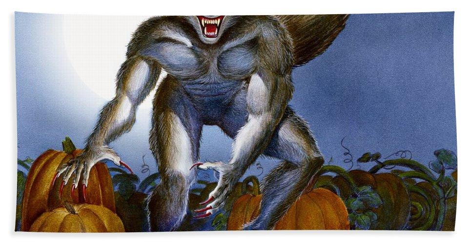Werewolf Beach Towel featuring the painting Werewolf With Pumpkins by Melissa A Benson
