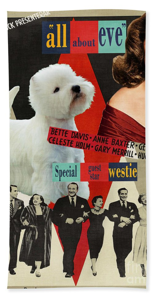 Westie Beach Towel featuring the painting West Highland White Terrier Art Canvas Print - All About Eve Movie Poster by Sandra Sij