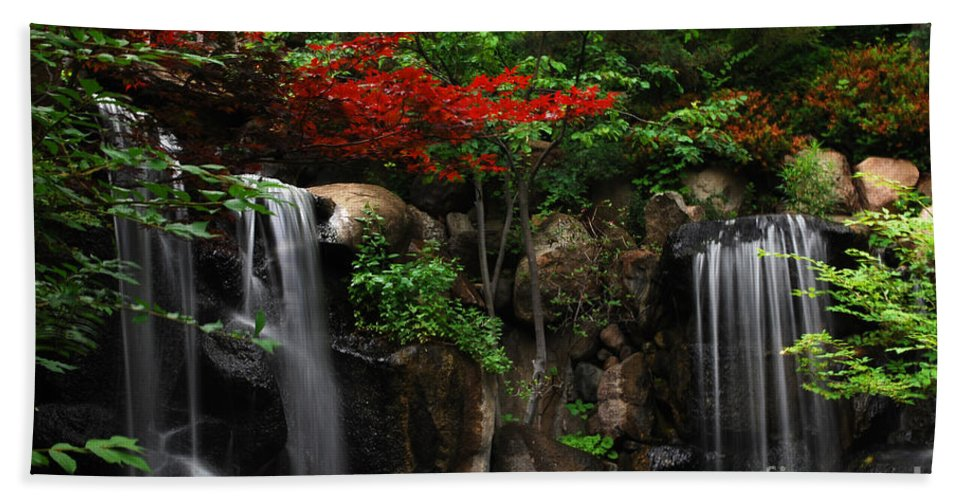Waterfall Beach Towel featuring the photograph West Waterfall at Japanese Garden by Nancy Mueller