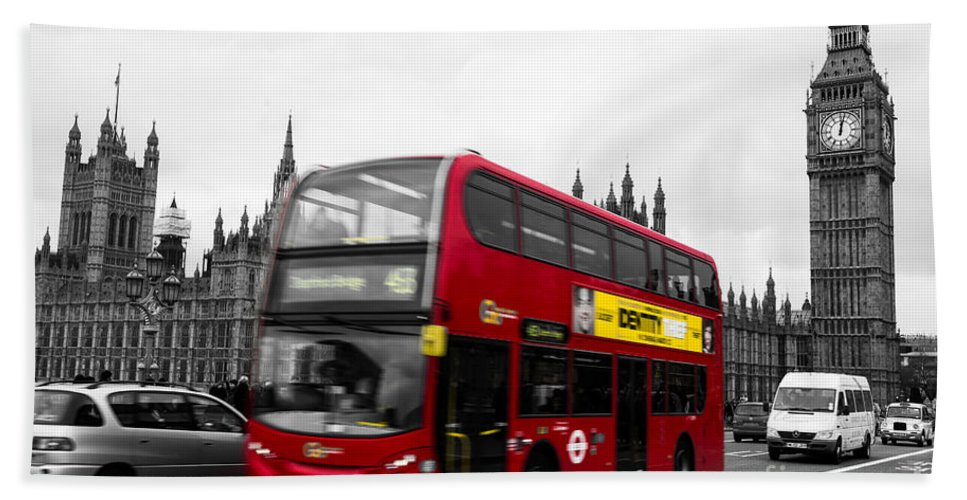 Red Beach Towel featuring the photograph Westminster And Red Bus by Matt Malloy