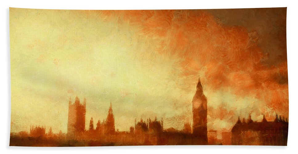 Gorgeous Beach Towel featuring the painting Westminster At Dusk by Pixel Chimp