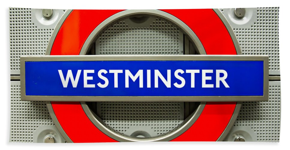 Architecture Beach Towel featuring the photograph Westminster Underground Logo by Luciano Mortula