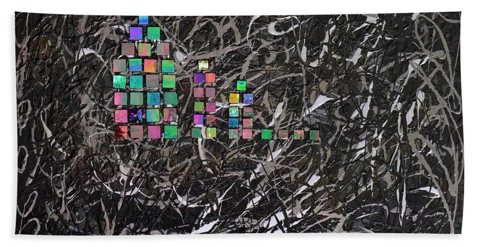 Bold Abstract Beach Towel featuring the mixed media Wet Reflections by Donna Blackhall