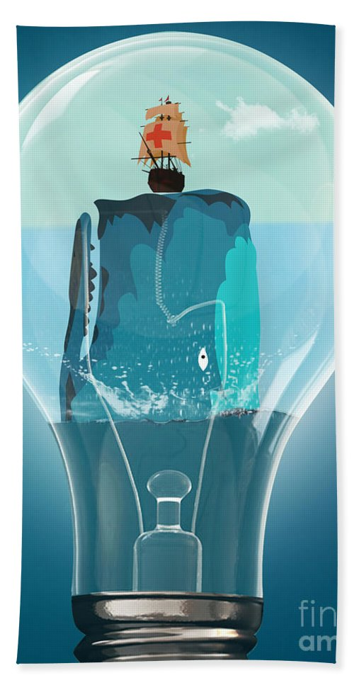 Moby Dick Beach Towel featuring the digital art Whale Lights by Mark Ashkenazi