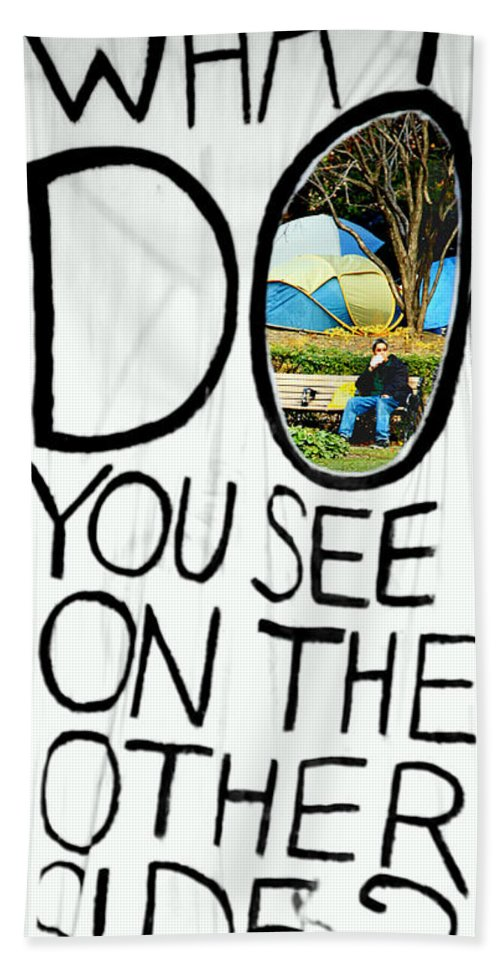What Beach Towel featuring the photograph What Do You See On The Other Side by Valentino Visentini