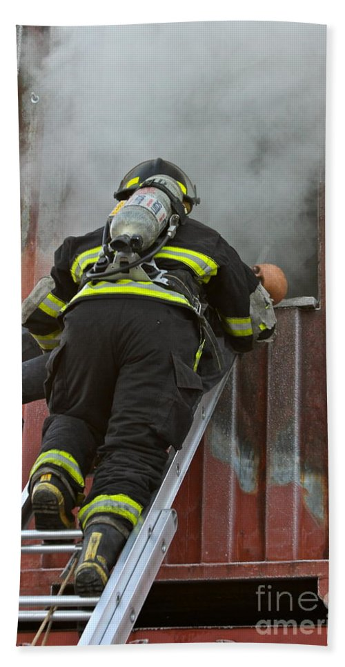 Firefighter Beach Towel featuring the photograph What They Do by Rick Monyahan