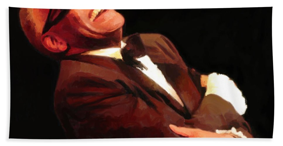 Ray Charles Beach Towel featuring the digital art What'd I Say by G Cannon