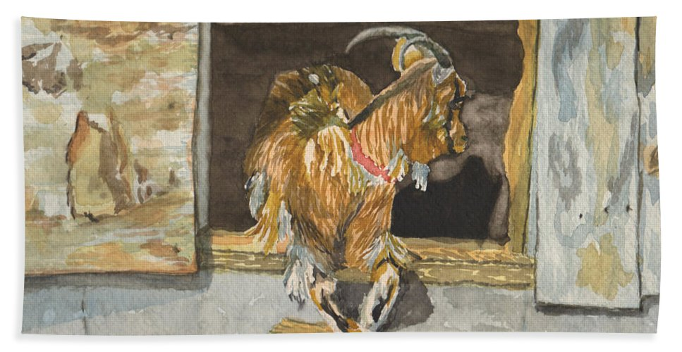 Goat Beach Towel featuring the painting What's the Password by Sharon E Allen