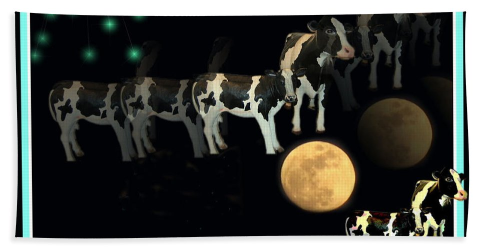 Cow Beach Towel featuring the photograph When Cows Jump Over The Moon by Joyce Dickens