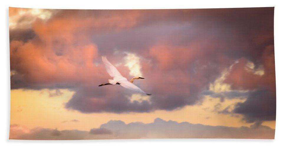 Egrets In Flight Beach Towel featuring the photograph When Heaven Beckons by Karen Wiles