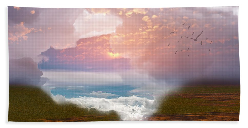 3d Beach Towel featuring the digital art When Heaven Breaks - Surrealism by Georgiana Romanovna