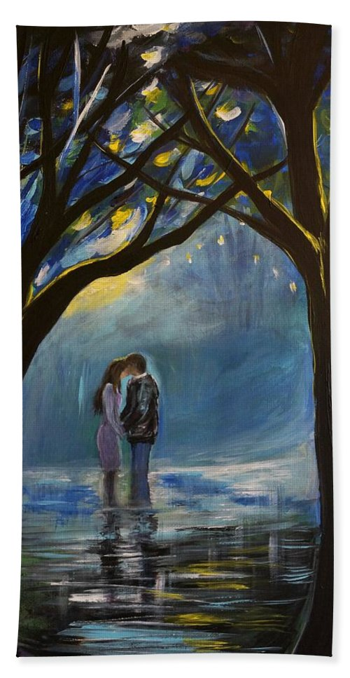 Couple Kissing Canvas Prints Beach Towel featuring the painting When I Fall In Love by Leslie Allen