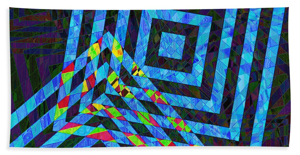 Squares Beach Towel featuring the photograph When Squares Merge Blue by David Pantuso