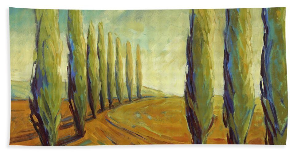 Cypress Beach Towel featuring the painting Where Evening Begins 1 by Konnie Kim