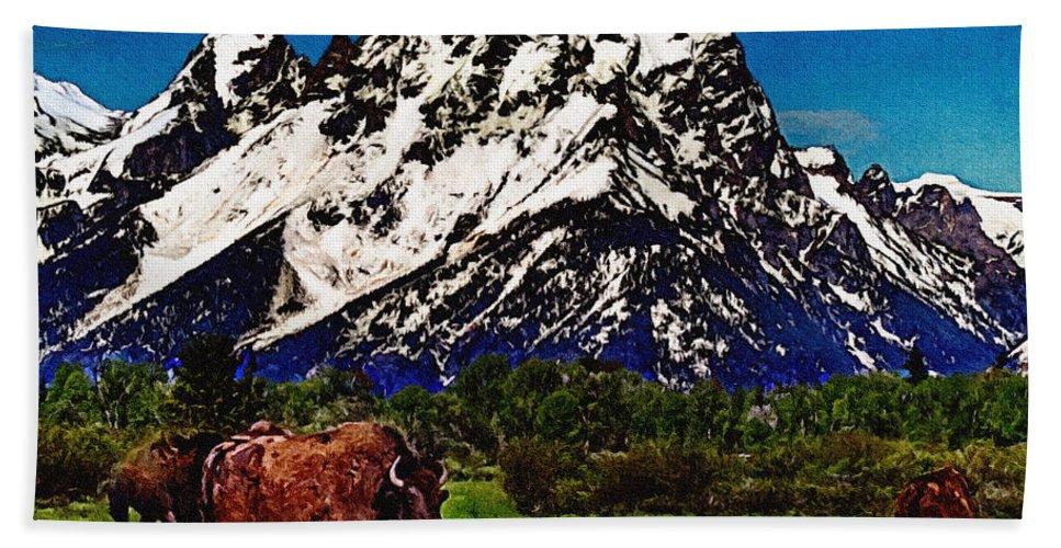Buffalo Beach Towel featuring the painting Where The Buffalo Roam by Bob and Nadine Johnston