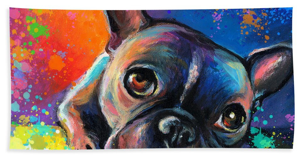 French Bulldog Prints Beach Towel featuring the painting Whimsical Colorful French Bulldog by Svetlana Novikova