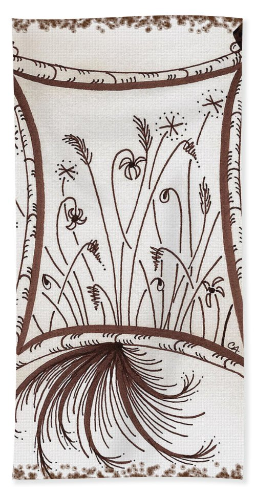 Whimsy Beach Towel featuring the drawing Whimsical Window by Cindy Angiel