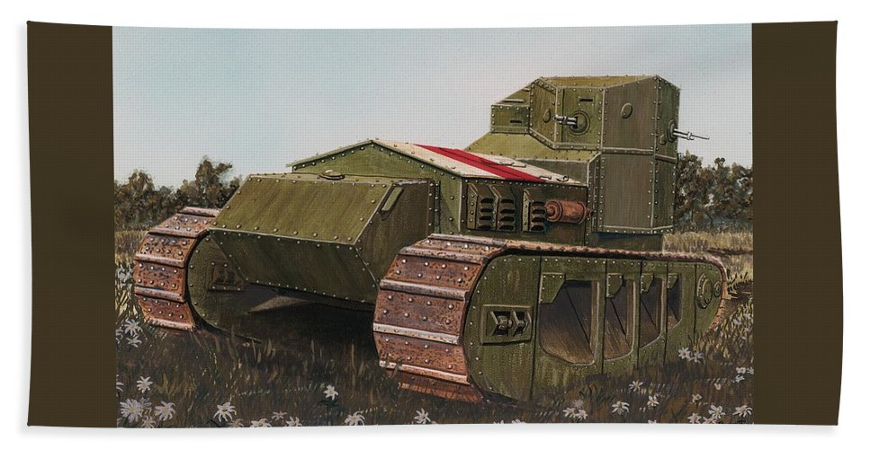 Wwi Beach Towel featuring the painting Whippet Aka Tritton Chaser by Rick Bennett