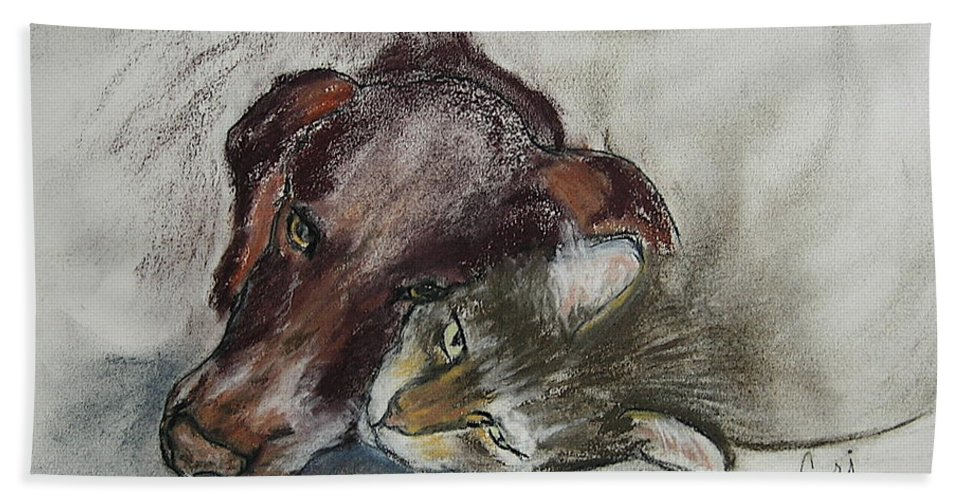 Dog Beach Towel featuring the drawing Whisker To Whisker by Cori Solomon