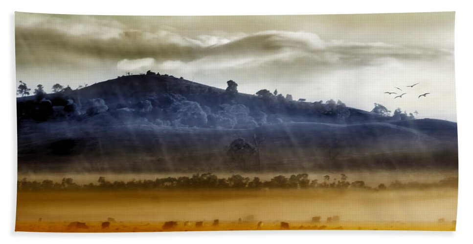 Landscapes Beach Towel featuring the photograph Whisps Of Velvet Rains... by Holly Kempe