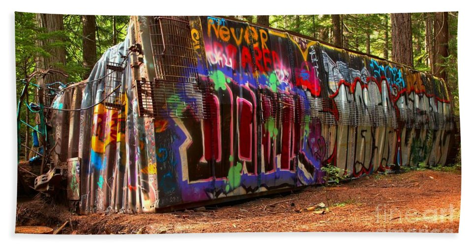 Train Wreck Beach Towel featuring the photograph Whistler Train Wreck Graffiti by Adam Jewell