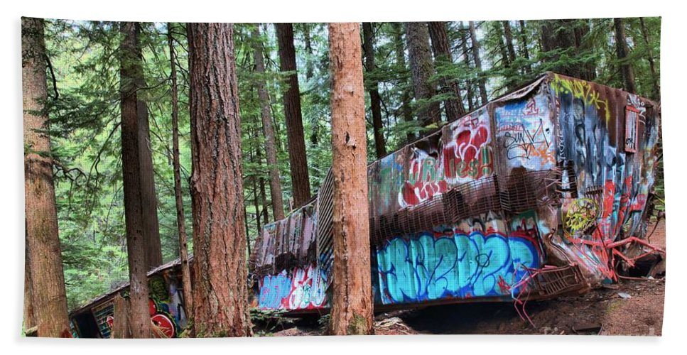 Train Wreck Beach Towel featuring the photograph Whistler Train Wreckage In The Trees by Adam Jewell