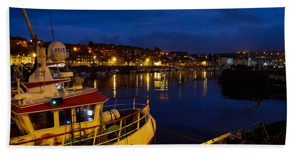 Whitby Beach Towel featuring the photograph Whitby Upper Harbour At Night by Louise Heusinkveld