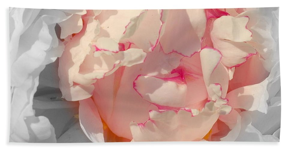 Peony Beach Towel featuring the photograph White And Pink Lace by Kathleen Struckle