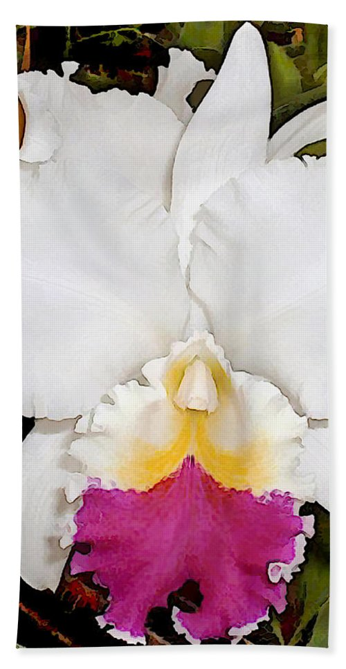 Orchid Beach Towel featuring the painting White And Purple Cattleya Orchid by Elaine Plesser