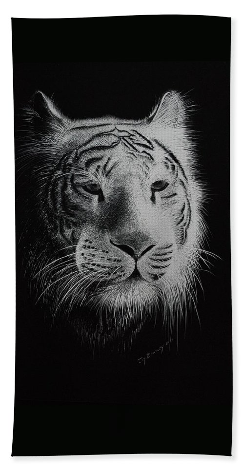 Greeting Cards Beach Towel featuring the painting White Bengal Tiger by Joy Bradley