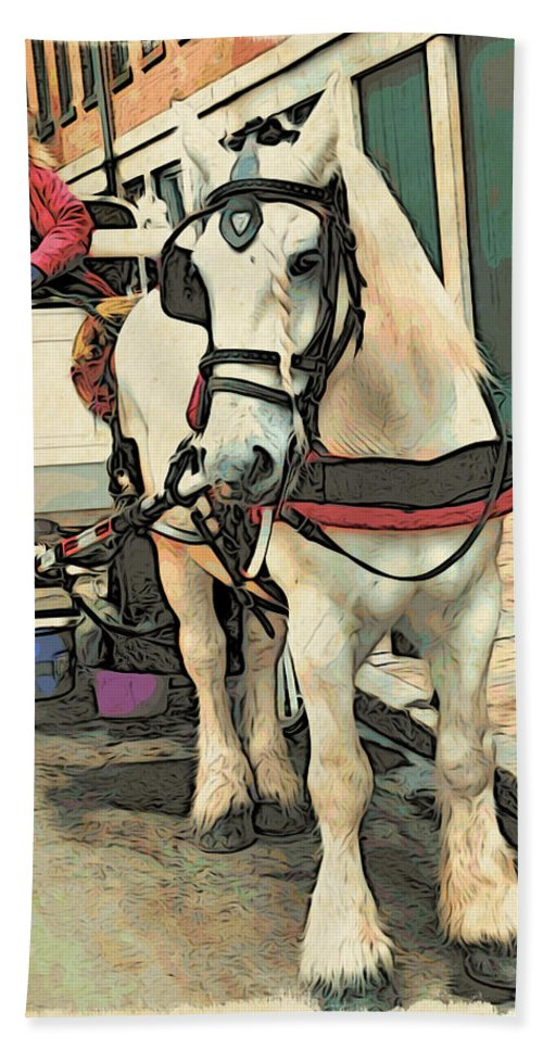 Horse Beach Towel featuring the photograph White Cart Horse by Alice Gipson