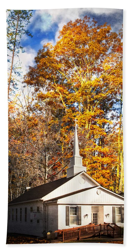 American Beach Towel featuring the photograph White Church In Autumn by Debra and Dave Vanderlaan