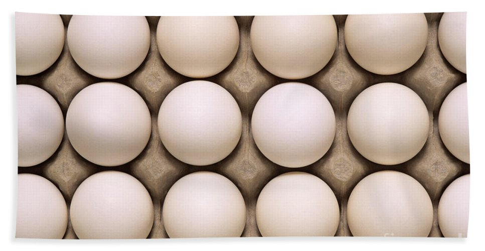 Carry Beach Towel featuring the photograph White Eggs In Carton by Jim Corwin